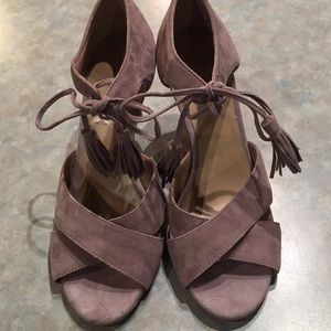 Ann Taylor taupe suede high heel sandals
